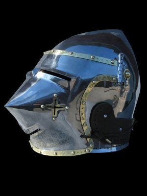 Bascinet hounskull with brass decoration and cross on the cheek Helmets