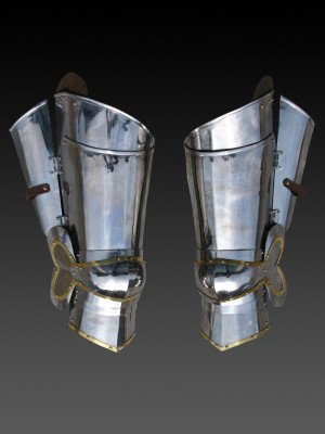 Plate legs of the  2nd part of the 15th century  Metal leg protection