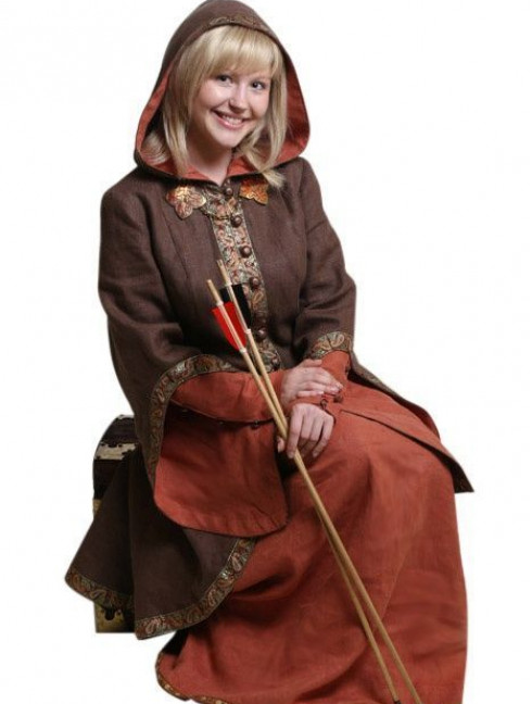 Coat with the hood and wide sleeves Cloaks and capes