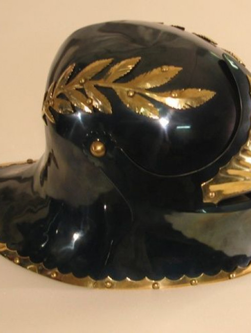 Sallet with brass leaves Helmets