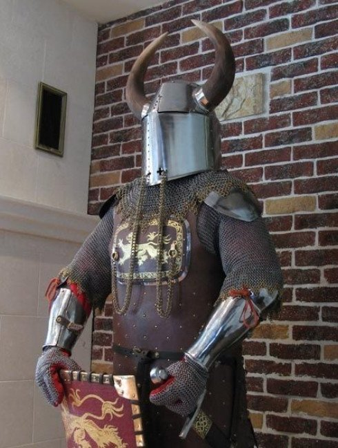 13 century European armour in colours of the English royal house Full armour