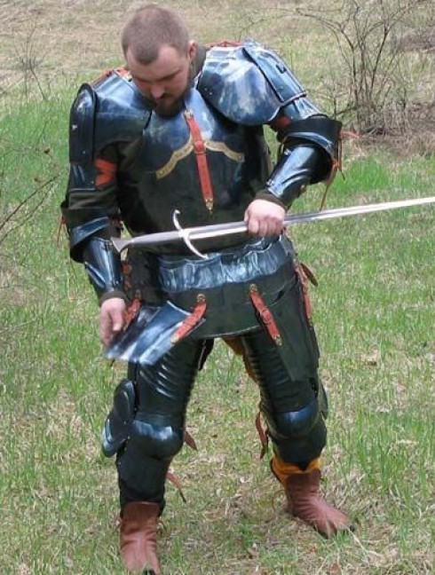 Steel english full plate armour, dated 1483