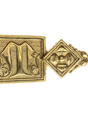 Medieval  metal decorated with letter M belt strapend Strapends