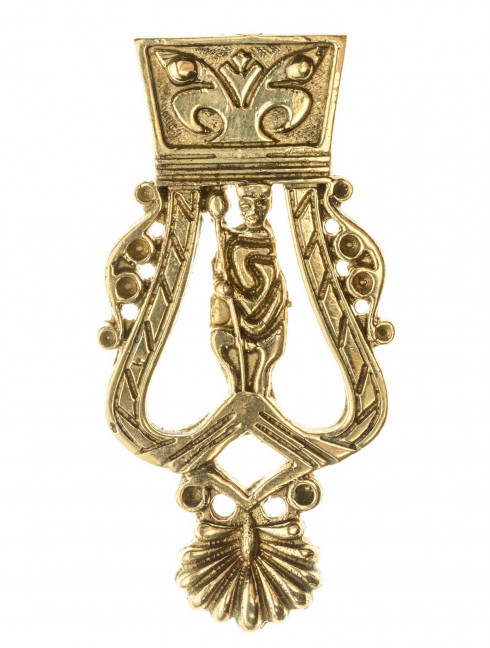 Medieval custom belt strapend with monarchy figure Strapends