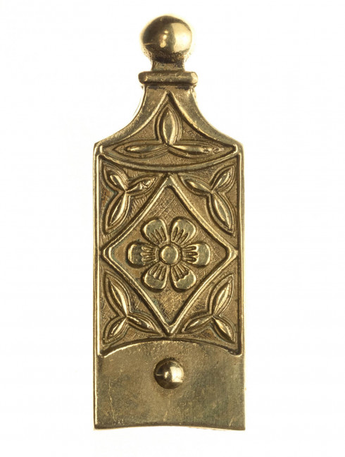 Medieval custom belt strapend with herb ornament Strapends