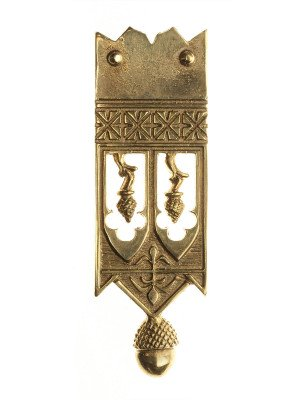 Medieval custom belt strapend with ornamental pattern Strapends