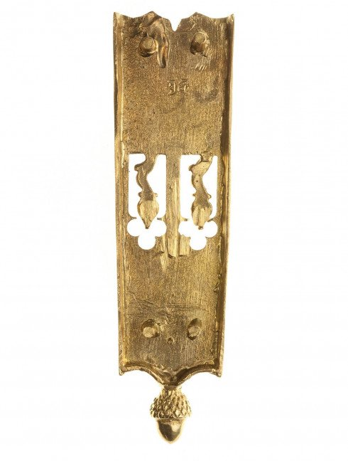 Medieval decorative belt strapend with embossing of dragon Strapends
