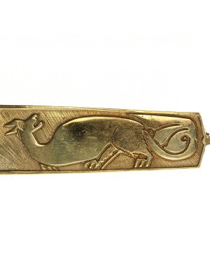 Medieval custom belt strapend with animal embossing Strapends