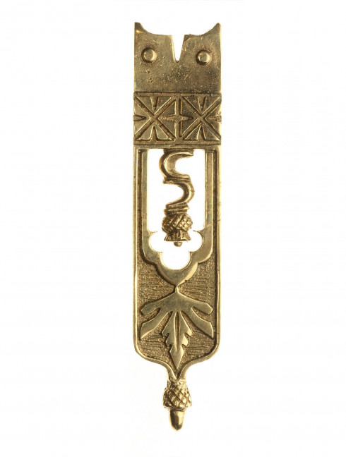 Medieval decorative belt strapend with thistle pattern Strapends