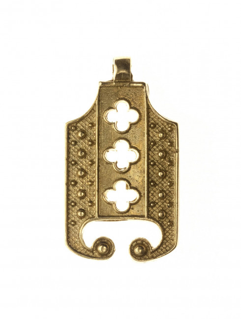 Medieval openwork decorated metal belt strapend Strapends