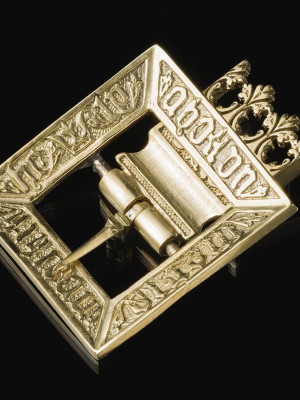 Medieval decorative buckle with mount, XV century Cast buckles