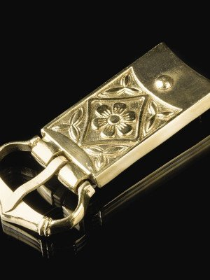 Medieval decorative English buckle with mount Cast buckles