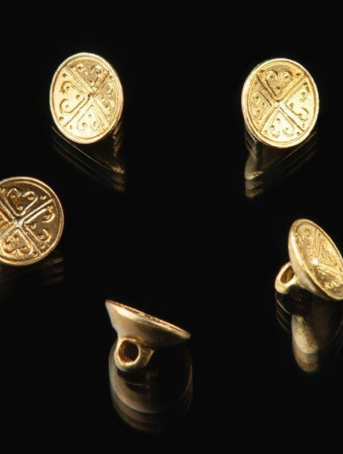 Medieval cast button with pattern, XIII-XV centuries Buttons, hooks, pins
