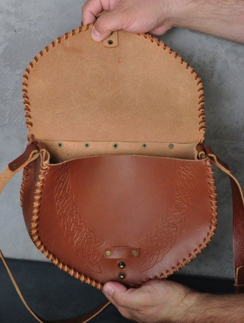 Medieval leather bag with embossed pattern Bags