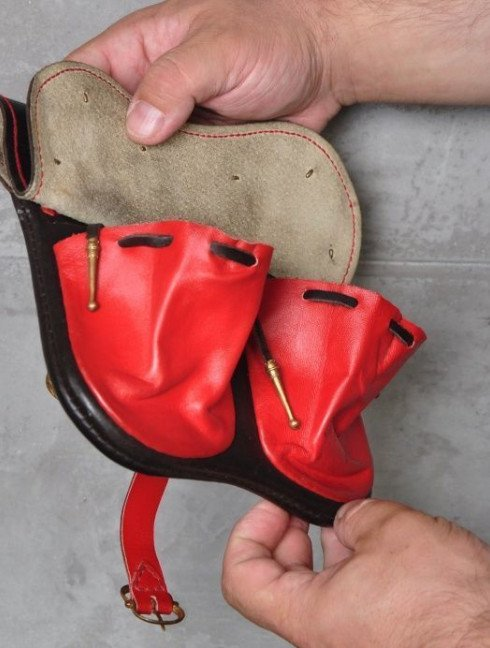 Black and red leather belt bag Bags