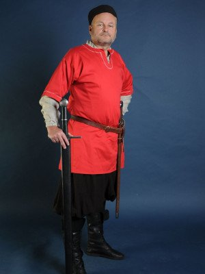 Medieval European shirt, red Ready to ship