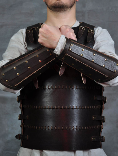 Leather bracers from armor costume in style of Bëor the Old Arms
