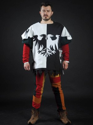 Half-colored tabard with black and white half-eagles