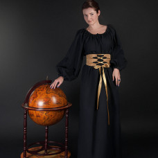 Medieval gown with wide fabric belt image-1