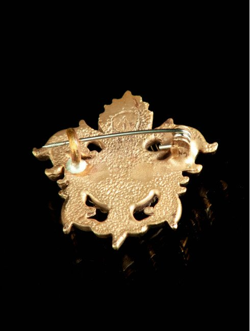 Medieval bronze brooch with blue cabochon, XV century Brooches and fasteners