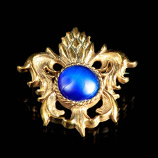 Medieval bronze brooch with blue cabochon, XV century image-1