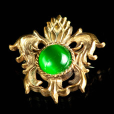 Medieval bronze brooch with green cabochon, XV century image-1