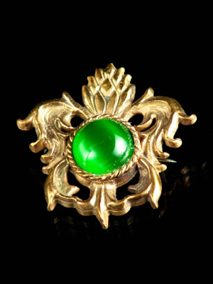 Medieval bronze brooch with green cabochon, XV century Brooches and fasteners
