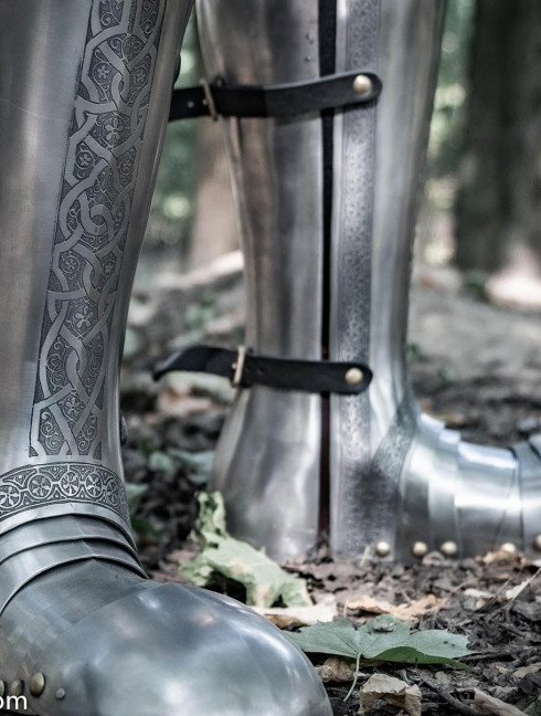 Full plate legs, part of full plate armor (garniture) of George Clifford, end of the XVI century  Plate armor