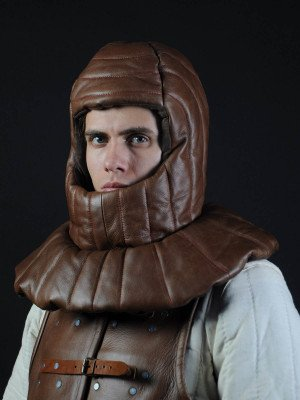 Leather padded medieval coif