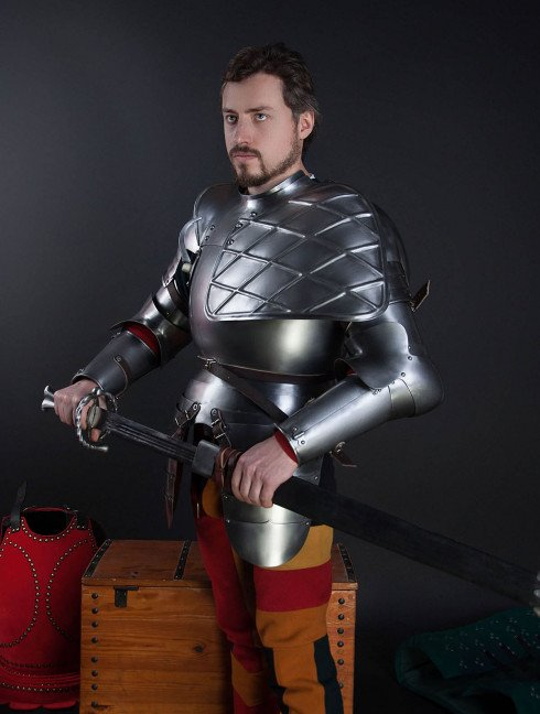 Full arm protection with pauldron, a part of the jousting knight armor, XVI century Plate armor