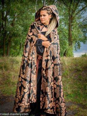 GOLDEN JACQUARD HOODED CLOAK Cloaks and capes
