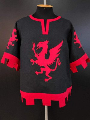 Black and red knight tabard with griffins and crossbow