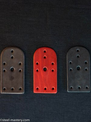Leather lamellar plates, 10 holes (100 pieces in the set) Lamellar plates