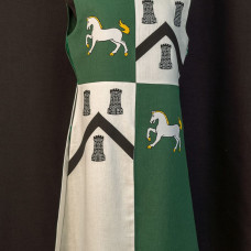 QUARTER COLORED TABARD WITH HORSES AND TOWERS image-1