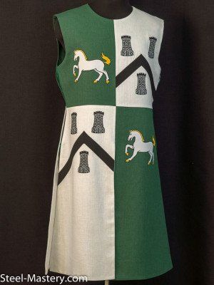 QUARTER COLORED TABARD WITH HORSES AND TOWERS