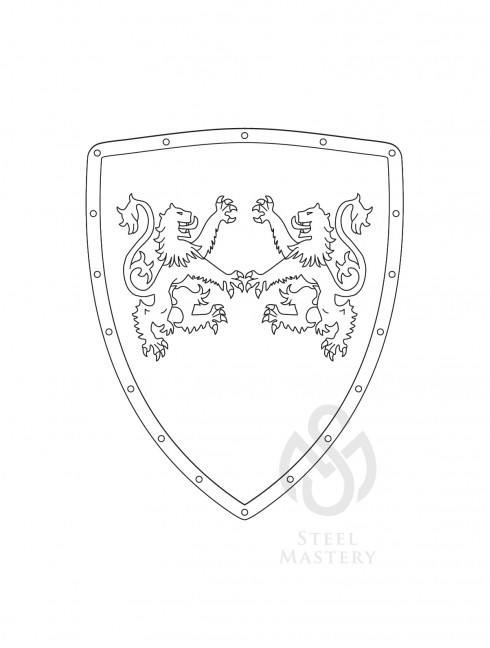 DIY Shield Coloring, Richard I the Lionheart Coat of arms, type 2 Do It Yourself (DIY) Ready sets for self making