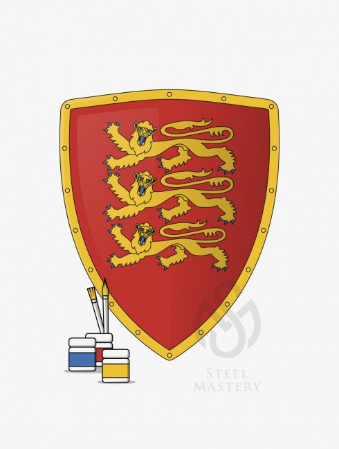DIY Shield Coloring, Richard I the Lionheart Coat of arms, type 3 Do It Yourself (DIY) Ready sets for self making