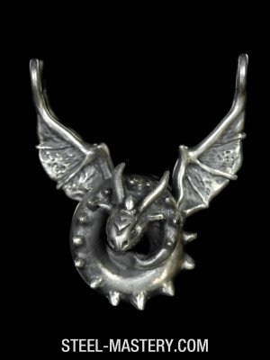Sterling silver wyvern dragon pendant