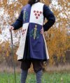 Tabard with silk-screening of scarlet dots, golden swords, and green oak leaves image-1