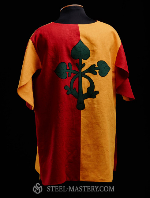 Half-colored tabard with green leaves Medieval clothing