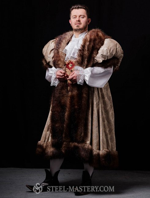 Royal king outfit with fur Men's fantasy costumes