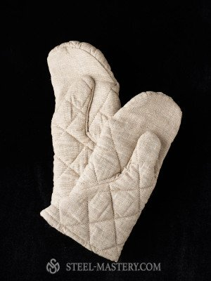 Linen padded mittens - 3 layers Padded gloves and mittens