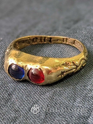 Medieval ring with two gems Castings