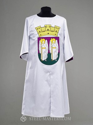 White cotton tabard with purple lining and decoration