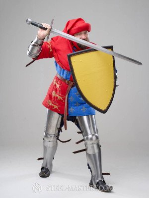 Costume of English knight from Battle of Poitiers, stylization Old categories
