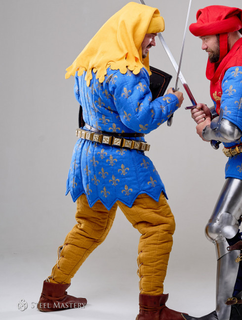 Costume of French knight from Battle of Poitiers, stylization Old categories