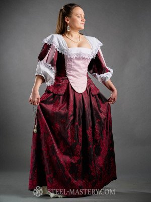 French Dress with Virago Sleeves, early XVIIth century