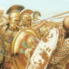 Hoplite soldier's armor and weapon