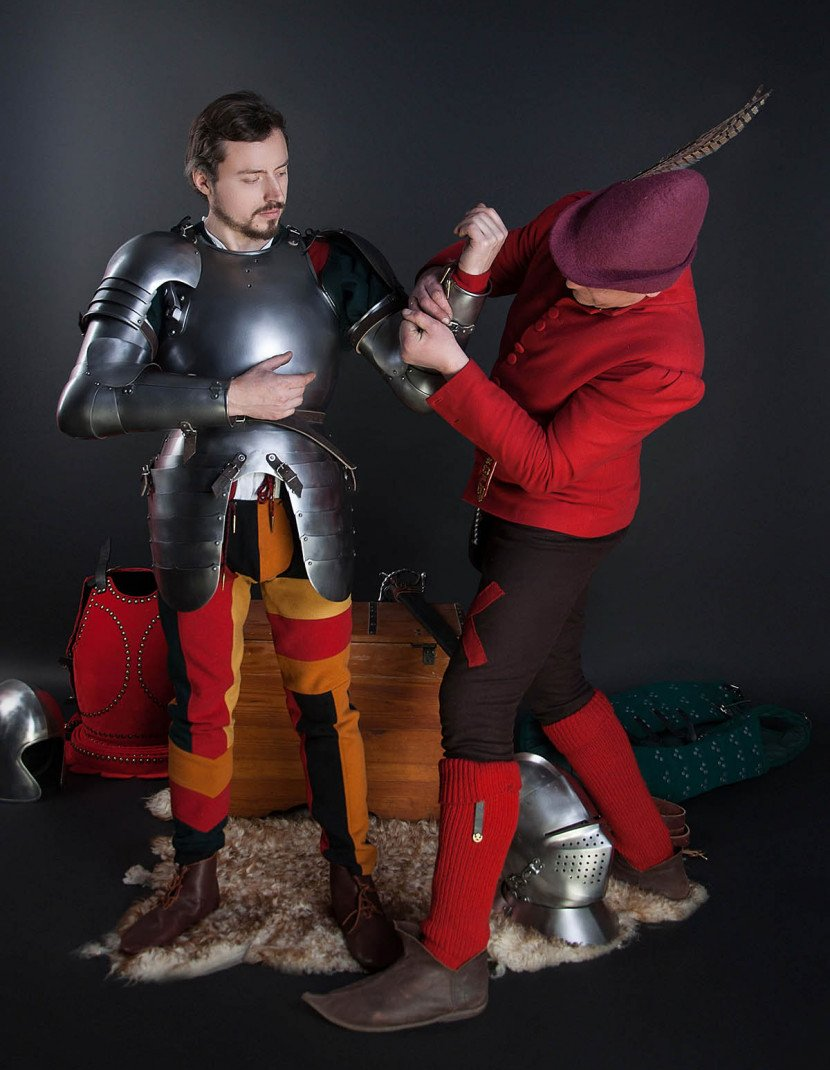 Full arm protection with pauldron, a part of the jousting knight armor, XVI century photo made by Steel-mastery.com
