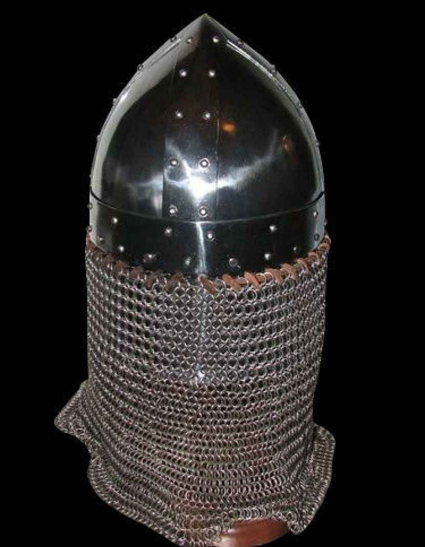 Conical spangen helmet of the XII century with bar grill photo made by Steel-mastery.com